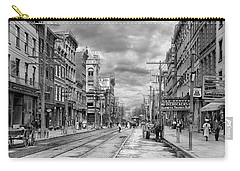Carry-all Pouch featuring the photograph City - Poughkeepsie Ny - The Ever Changing Market Place 1906 - Black And White by Mike Savad
