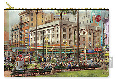 Carry-all Pouch featuring the photograph City - San Diego Ca - A Busy Street Corner 1941 by Mike Savad