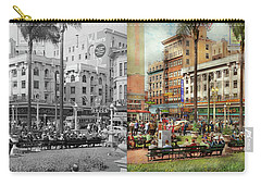 Carry-all Pouch featuring the photograph City - San Diego Ca - A Busy Street Corner 1941 - Side By Side by Mike Savad