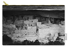 Carry-all Pouch featuring the photograph Cliff Palace In Black And White by Jon Burch Photography