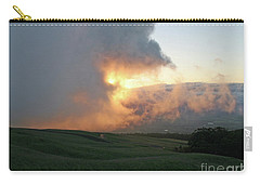 Carry-all Pouch featuring the photograph Cloud Bank And Sunset by PJ Boylan