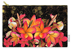 Coloured Frangipani Black And Gold Background Carry-all Pouch