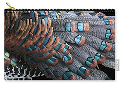 Carry-all Pouch featuring the photograph Copper-tipped Ocellated Turkey Feathers Photograph by Debi Dalio