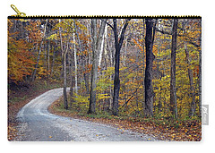 Carry-all Pouch featuring the photograph Country Road On Fall Day by Mike Murdock