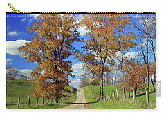 Carry-all Pouch featuring the photograph Country Road Through Fall Trees by Angela Murdock