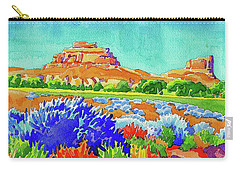 Carry-all Pouch featuring the painting Courthouse And Jail Watercolor by Dan Miller