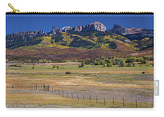 Carry-all Pouch featuring the photograph Courthouse Mountains And Chimney Rock Peak by James BO Insogna