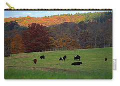 Carry-all Pouch featuring the photograph Cows Grazing On A Fall Day by Angela Murdock