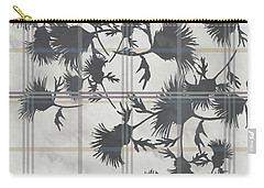 Cream Thistle Plaid Contrast Border Carry-all Pouch