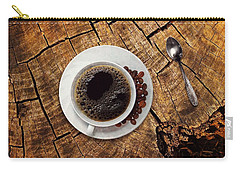 Cup Of Coffe On Wood Carry-all Pouch