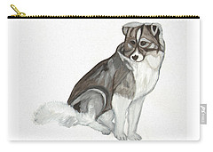 Carry-all Pouch featuring the painting Cute Fluffy Dog by Dobrotsvet Art