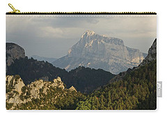 Carry-all Pouch featuring the photograph Dappled Light On Pena Montanesa by Stephen Taylor