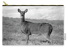 Carry-all Pouch featuring the photograph Deer In Black And White by Angela Murdock
