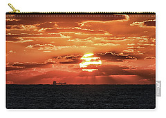 Carry-all Pouch featuring the photograph Dramatic Atlantic Sunrise With Ghost Freighter by Bill Swartwout Fine Art Photography