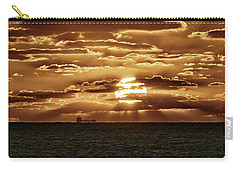 Carry-all Pouch featuring the photograph Dramatic Atlantic Sunrise With Ghost Freighter In Goldtone by Bill Swartwout Fine Art Photography
