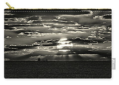 Carry-all Pouch featuring the photograph Dramatic Atlantic Sunrise With Ghost Freighter In Monochrome by Bill Swartwout Fine Art Photography