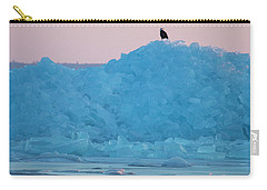 Carry-all Pouch featuring the photograph Eagle On Ice Mackinaw City 2261803 by Rick Veldman