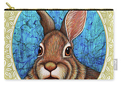 Eastern Cottontail Portrait - Cream Border Carry-all Pouch
