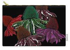 Echinacea Flowers With Black Carry-all Pouch