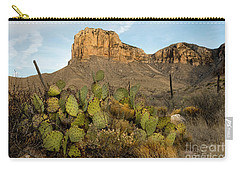 Carry-all Pouch featuring the photograph El Capitan With Cactus by Joe Sparks