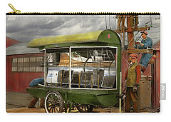 Carry-all Pouch featuring the photograph Electrician - Linemen - Installing Search Lights 1929 by Mike Savad