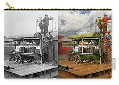 Carry-all Pouch featuring the photograph Electrician - Linemen - Installing Search Lights 1929 - Side By Side by Mike Savad