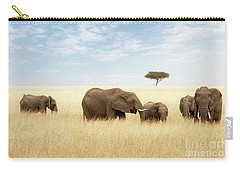 Elephant Group In The Grassland Of The Masai Mara Carry-all Pouch