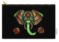 Elephant Head Painting Sacral Chakra Art Zentangle Elephant African Tribal Artwork Carry-all Pouch