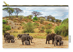 Carry-all Pouch featuring the photograph Elephants Drill For Water by Kay Brewer