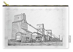 Carry-all Pouch featuring the drawing Elevator Row by Brad Allen Fine Art