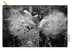 Emerging Milkweed Seeds In Black And White Carry-all Pouch