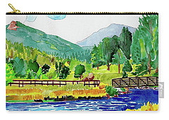 Carry-all Pouch featuring the painting Evergreen Lake Spring Watercolor by Dan Miller
