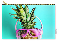 Fashionable Trendy Pineapple Fruit With Headphones And Sun Glass Carry-all Pouch