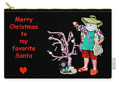 Carry-all Pouch featuring the photograph Favorite Tropical Santa Decorating The Christmas Tree by Kay Brewer