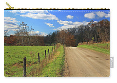 Carry-all Pouch featuring the photograph Fence And Country Road by Angela Murdock