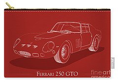 Ferrari 250 Gto - White Blueprint On Red Carry-all Pouch