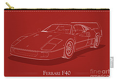Ferrari F40 - White Blueprint On Red Carry-all Pouch