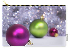 Carry-all Pouch featuring the photograph Festive Scene For Christmas With Xmas Balls And Lights In Backgr by Cristina Stefan