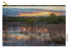 Carry-all Pouch featuring the photograph Fire In The Sky Over The Pines by Kristia Adams