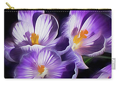 Carry-all Pouch featuring the mixed media First Crocuses On The Sunny Side Of The Street by Lynda Lehmann