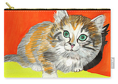Carry-all Pouch featuring the painting Fluffy Kitten by Dobrotsvet Art