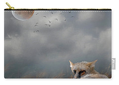 Fox In Moonlight Square Carry-all Pouch