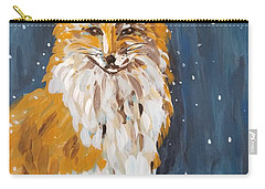 Carry-all Pouch featuring the painting Fox Winter Night by Maria Langgle