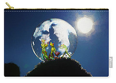Carry-all Pouch featuring the digital art Frogs In A Bubble by Ericamaxine Price