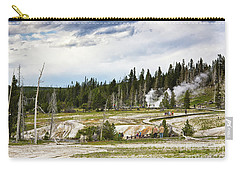Carry-all Pouch featuring the photograph Fuming Geysers In Yellowstone National Park by Tatiana Travelways