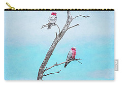 Carry-all Pouch featuring the photograph Galahs On The Lookout by Elaine Teague