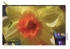 Carry-all Pouch featuring the mixed media Golden Daffodil Brilliance by Lynda Lehmann
