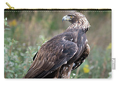 Carry-all Pouch featuring the photograph Golden Eagle On Rock 92515 by Rick Veldman