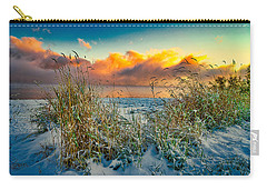 Grass And Snow Sunrise Carry-all Pouch