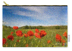 Grassland And Red Poppy Flowers 3 Carry-all Pouch